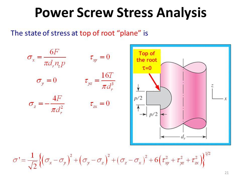 Power Screw Stress Analysis