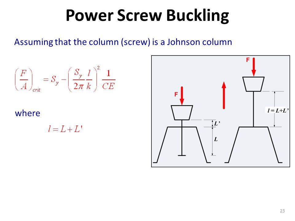 Power Screw Buckling Assuming that the column (screw) is a Johnson column where
