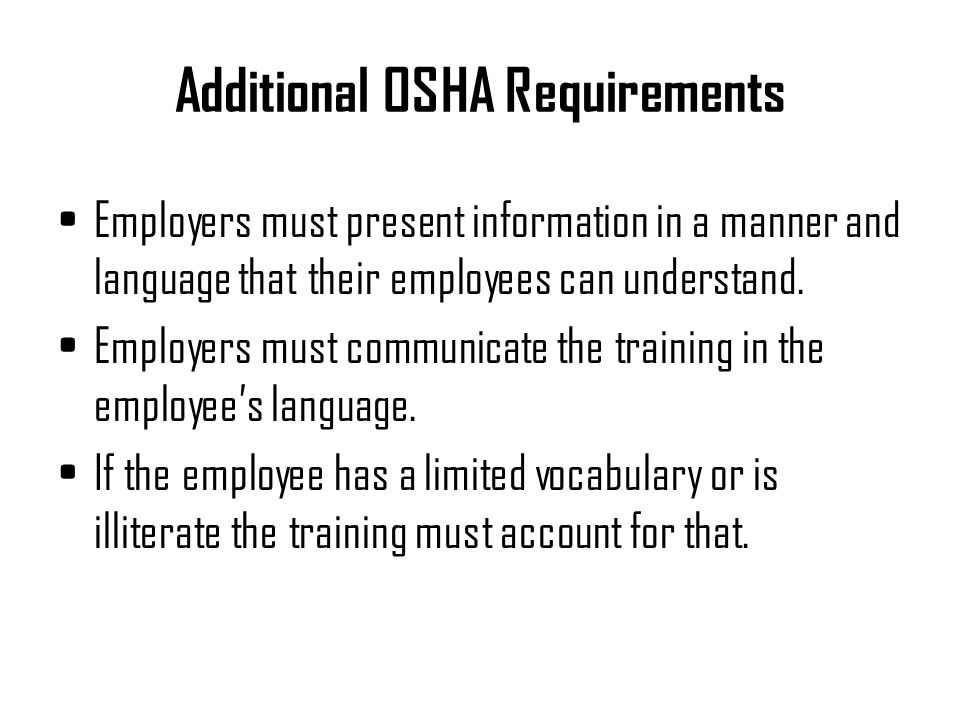 Additional OSHA Requirements