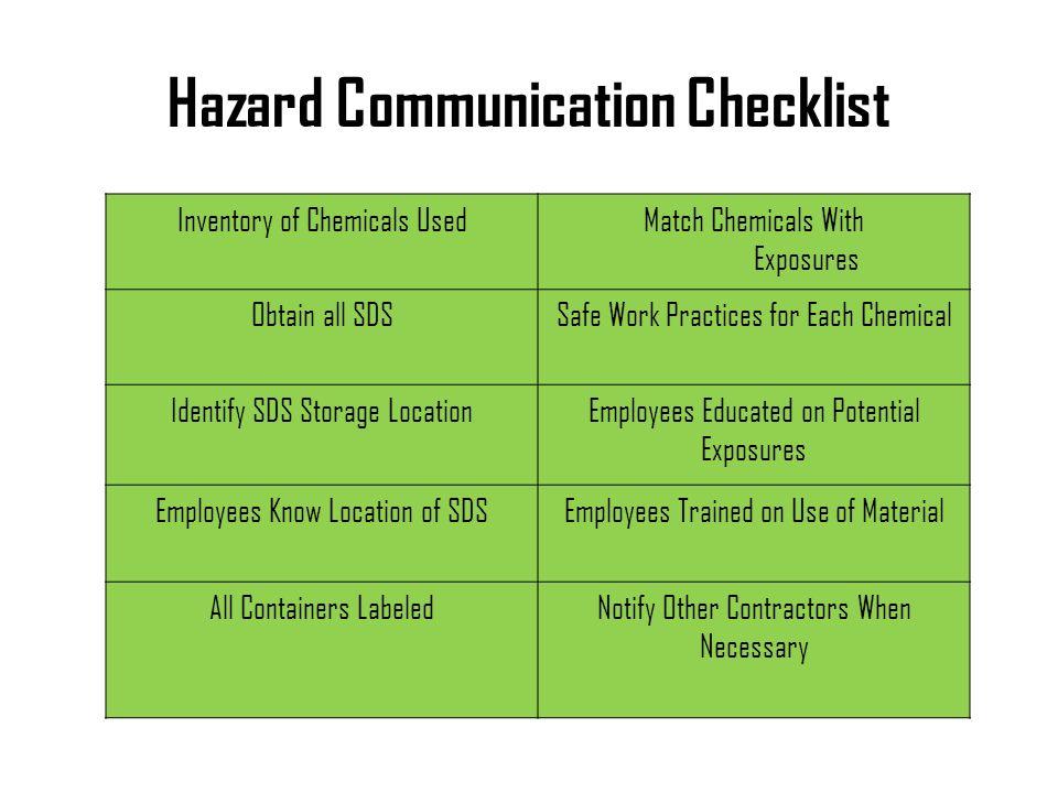 Hazard Communication Checklist