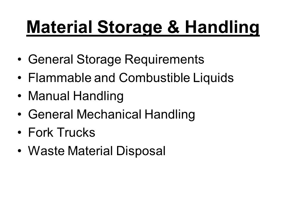 Material Storage & Handling