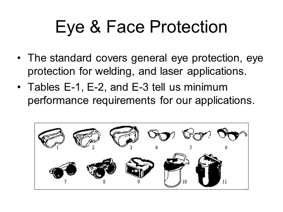 Eye & Face Protection The standard covers general eye protection, eye protection for welding, and laser applications.