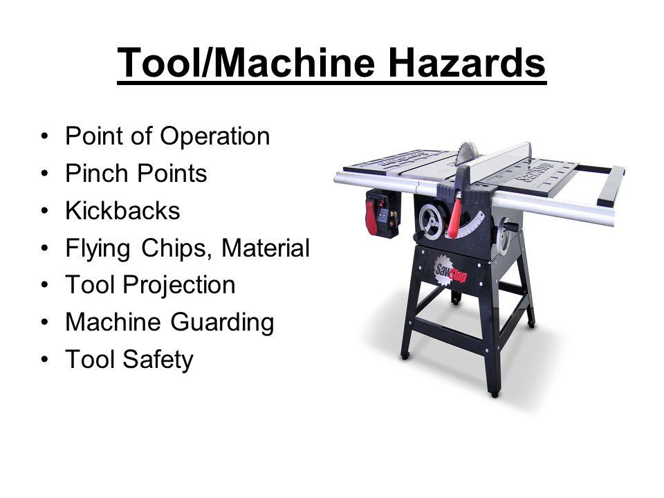 Tool/Machine Hazards Point of Operation Pinch Points Kickbacks