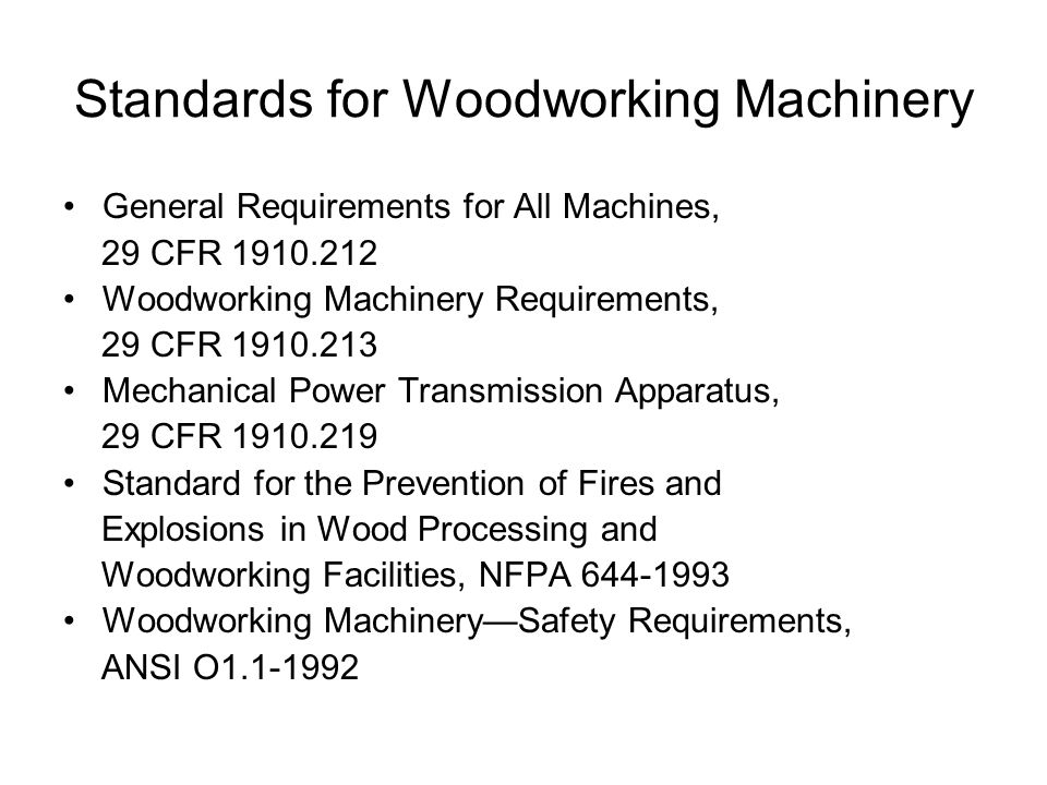 Standards for Woodworking Machinery