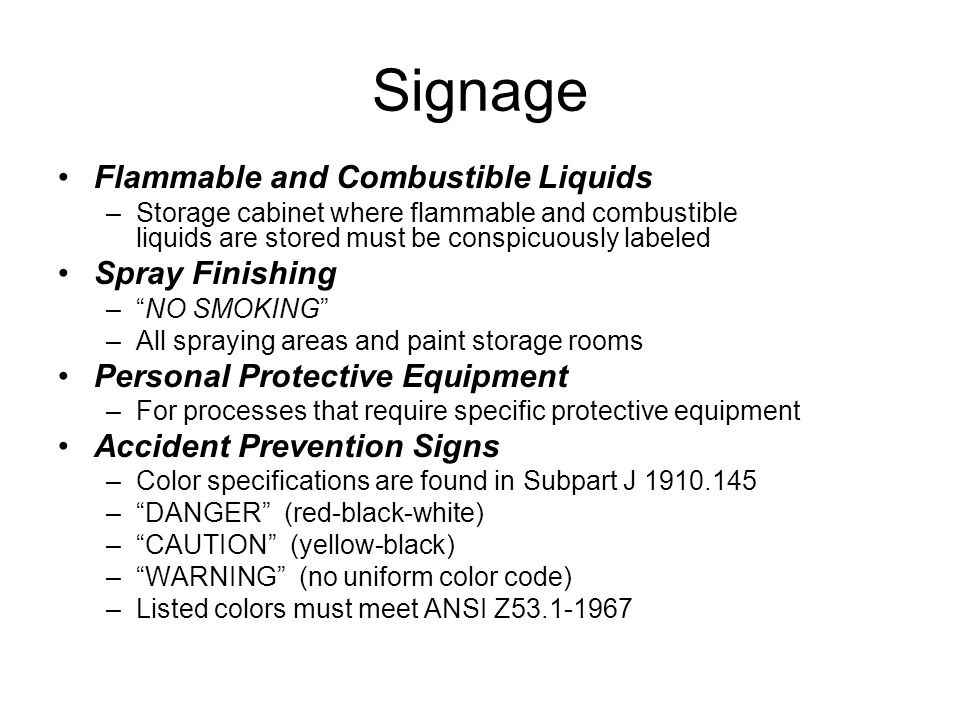 Signage Flammable and Combustible Liquids Spray Finishing