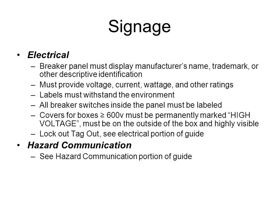 Signage Electrical Hazard Communication