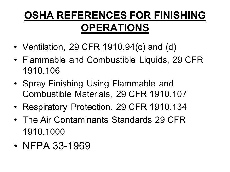 OSHA REFERENCES FOR FINISHING OPERATIONS