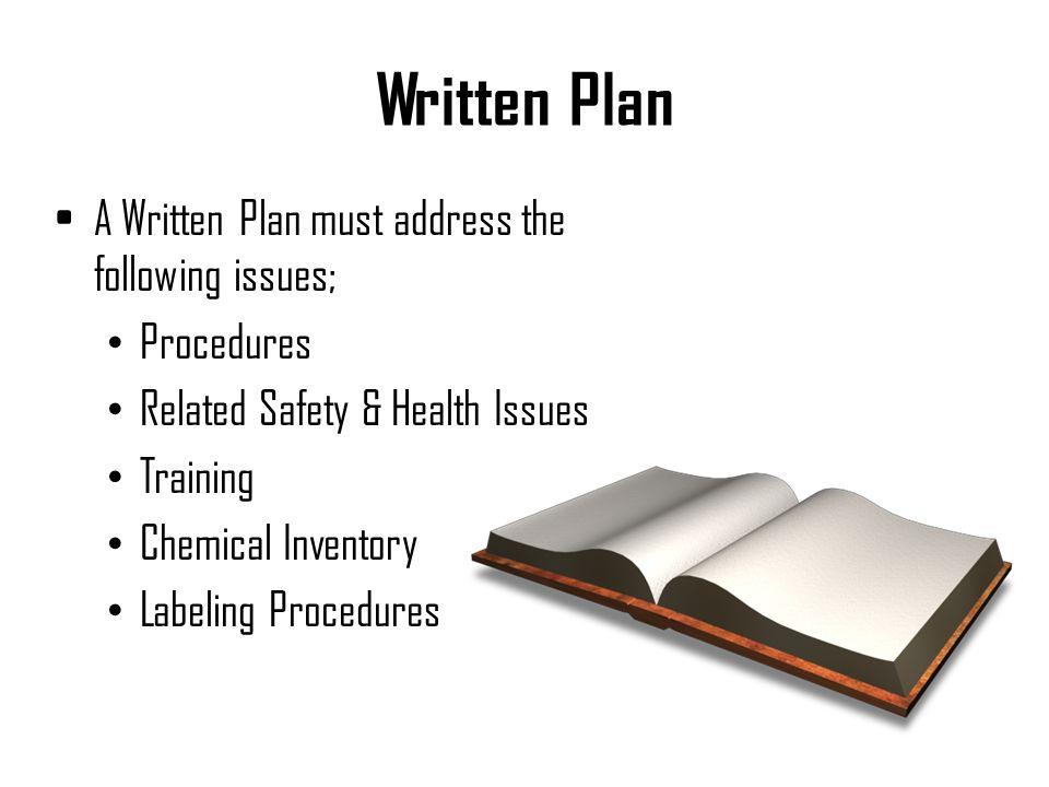 Written Plan A Written Plan must address the following issues;