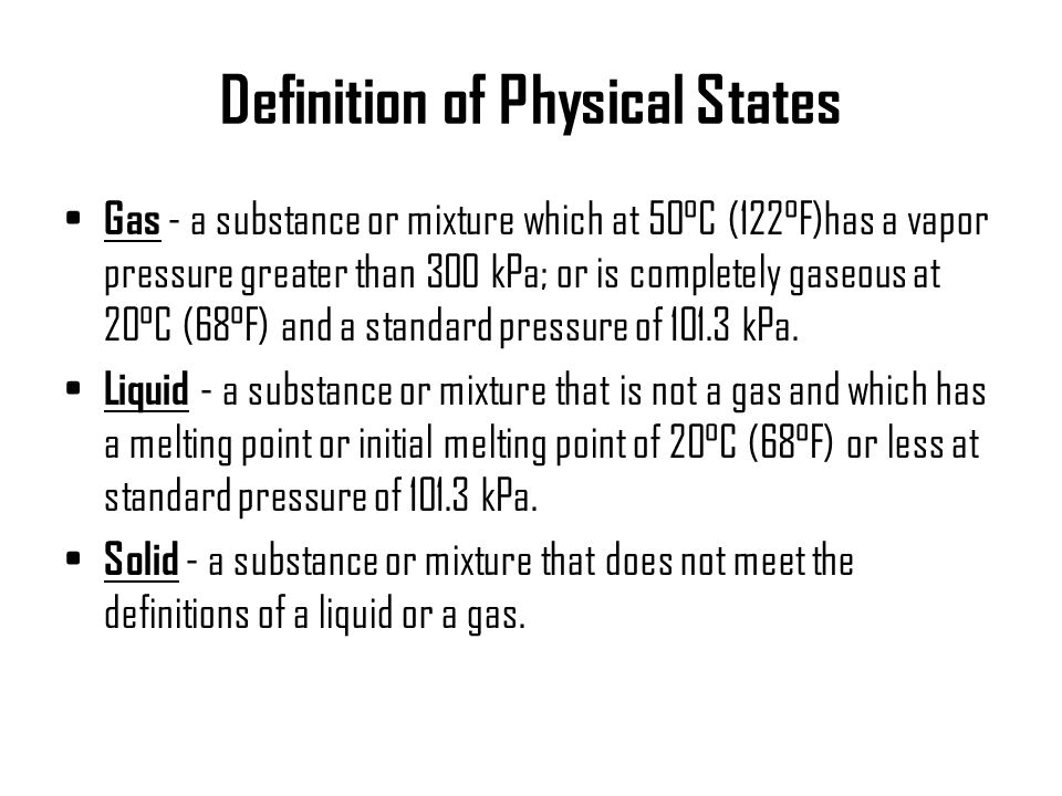 Definition of Physical States