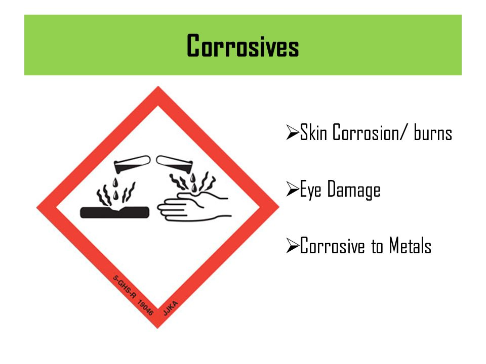 Corrosives Skin Corrosion/ burns Eye Damage Corrosive to Metals