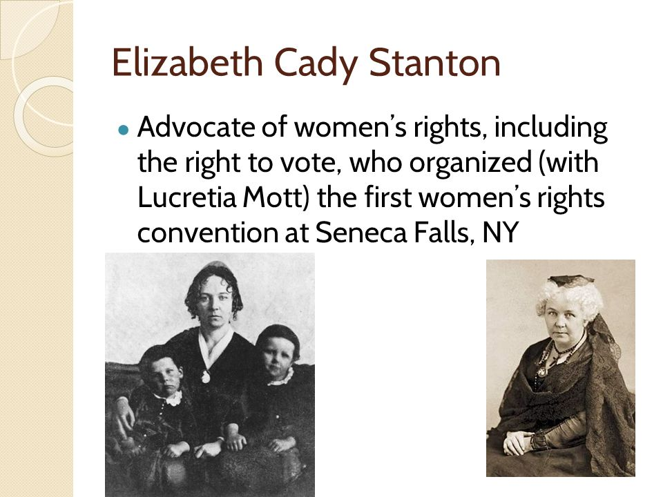 an analysis of the womens right to vote and the seneca falls convention by elizabeth cady stanton an Five things to know about the declaration of sentiments  day seneca falls convention, and elizabeth cady stanton  right to vote in 1920, women of color .