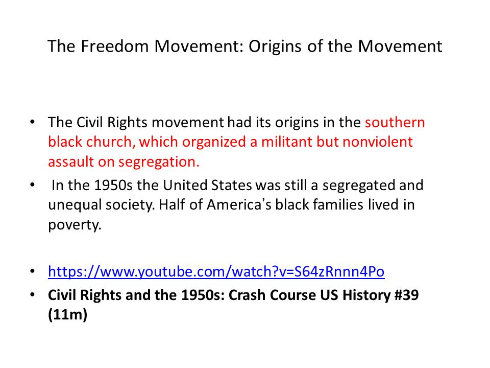 the origins of the civil rights movement in the united states The voting rights act is a historic civil rights law that is meant to by the constitution and laws of the united states a history of the voting rights.