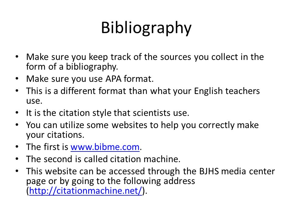 how to make a bibliography to send to the website