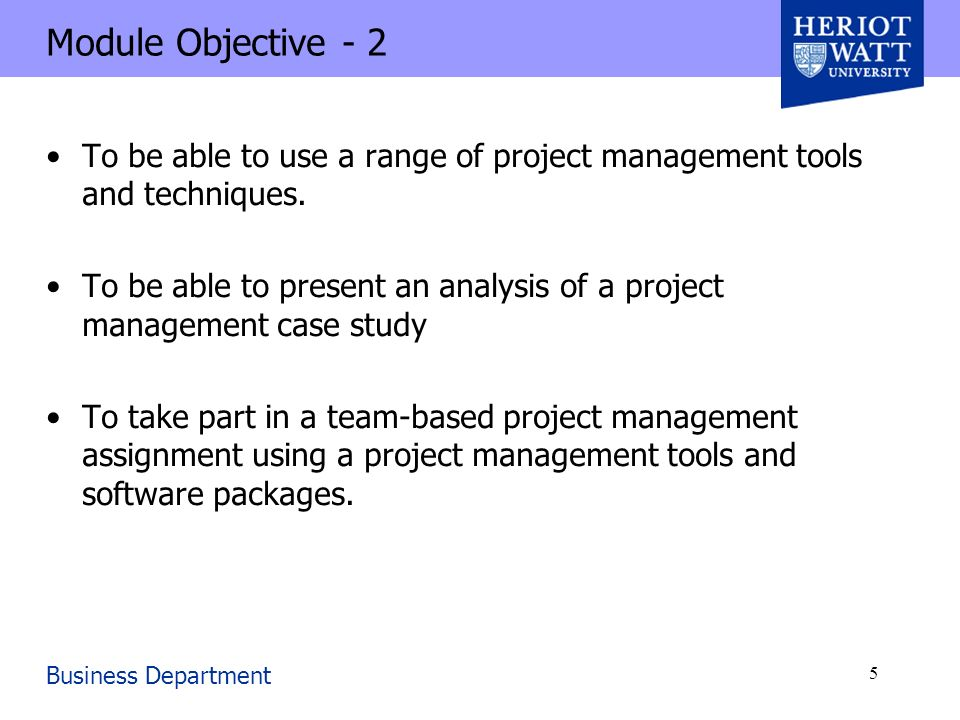 project management cpm ppt  module objective 2 to be able to use a range of project management tools and