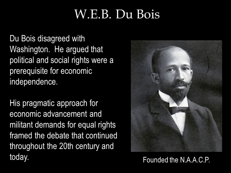 an analysis of the booker t washington and w e b du bois In the late 19th and early 20th centuries, african american leaders booker t washington and web dubois promoted different civil rights strategies in this lesson, learn about the policies and .