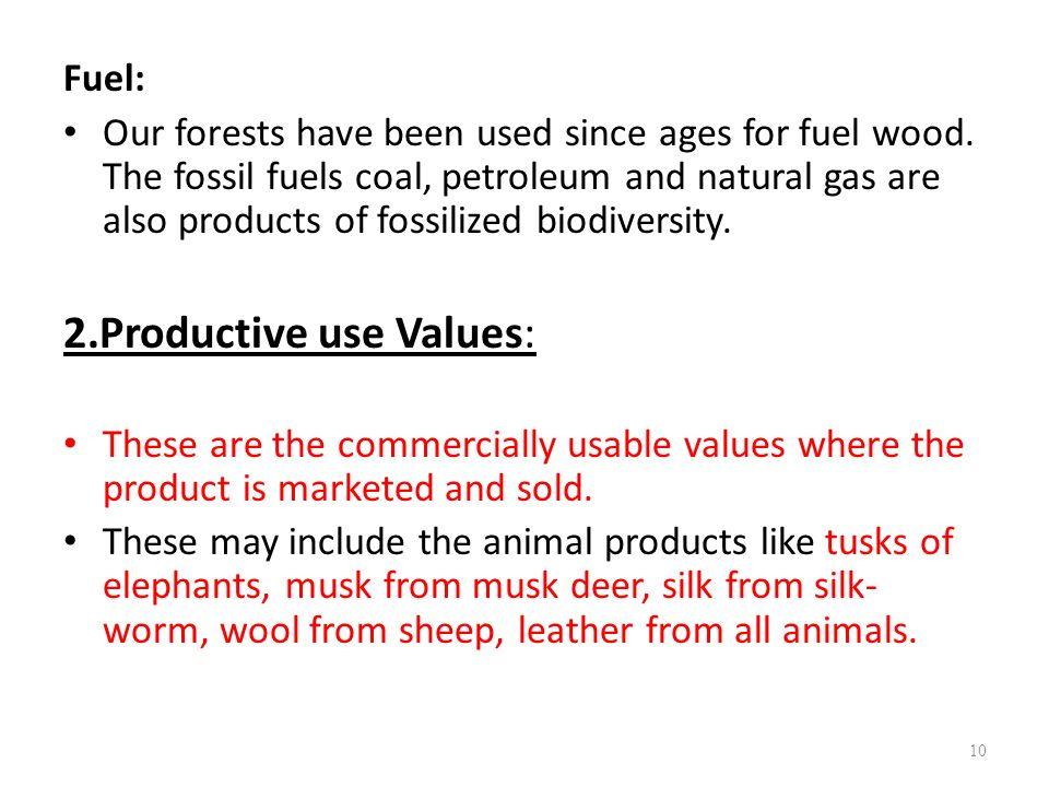 2.Productive use Values:
