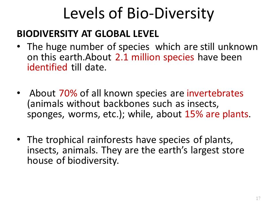 Levels of Bio-Diversity