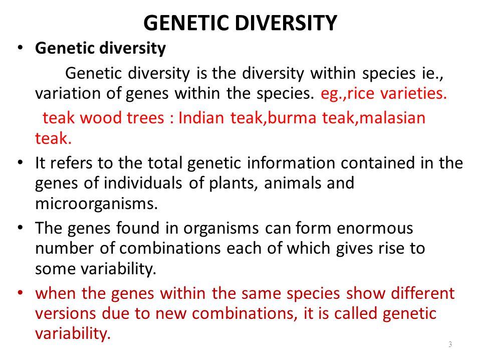 GENETIC DIVERSITY Genetic diversity