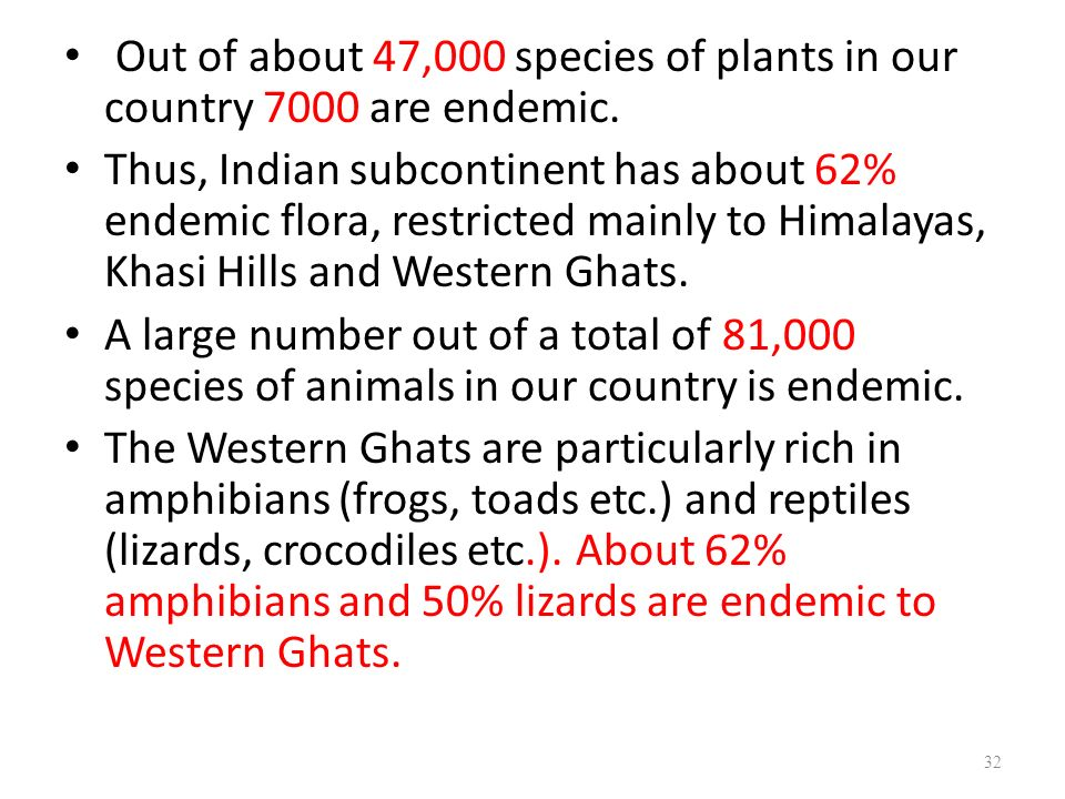 Out of about 47,000 species of plants in our country 7000 are endemic.