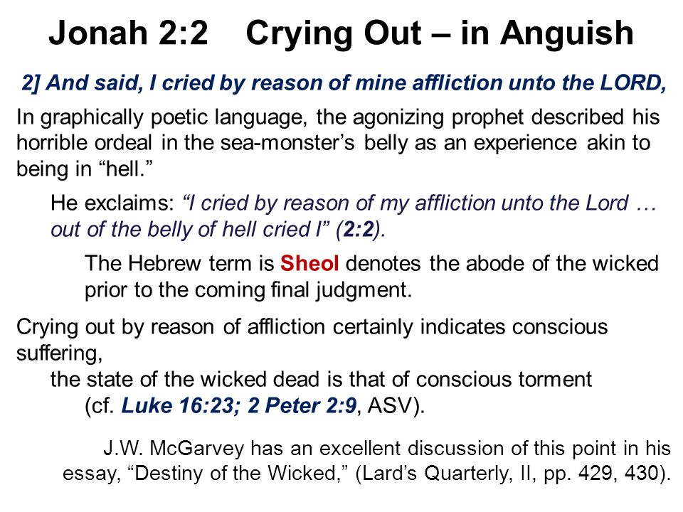 Jonah 2:2 Crying Out – in Anguish