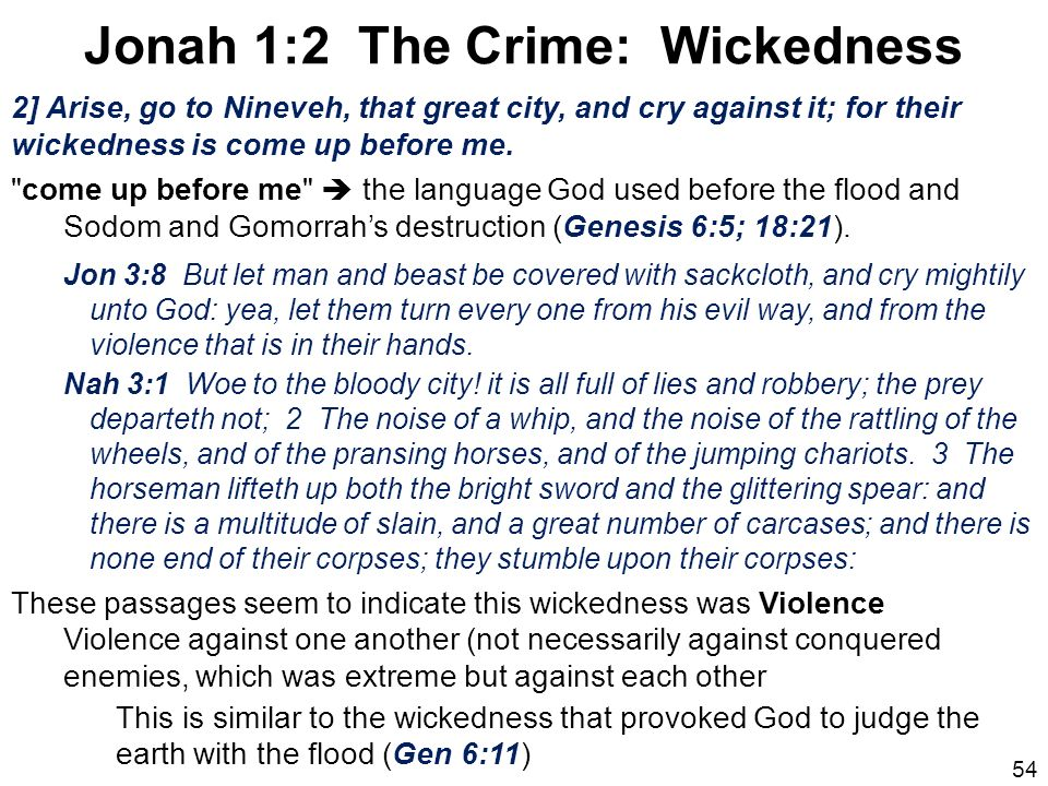 Jonah 1:2 The Crime: Wickedness