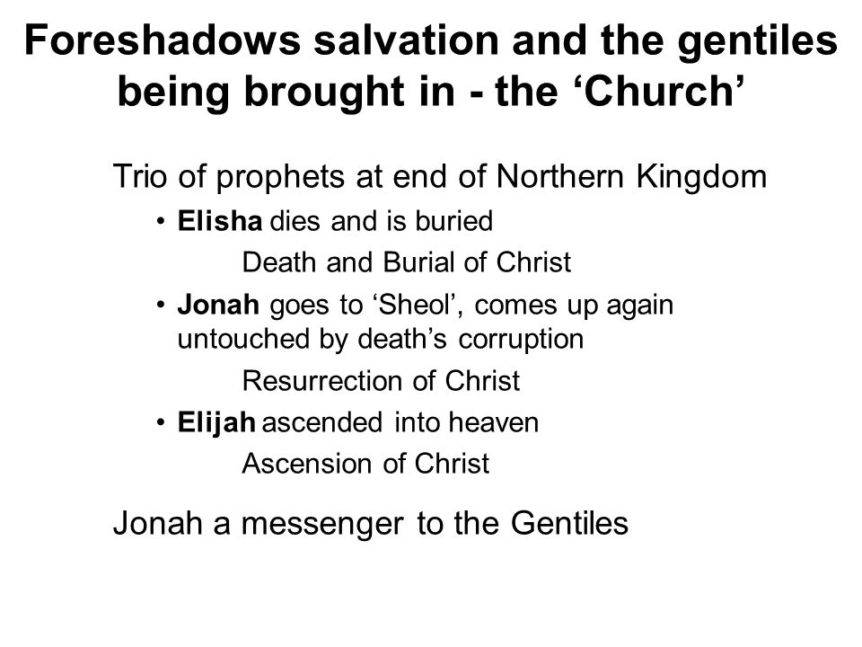 Foreshadows salvation and the gentiles being brought in - the 'Church'