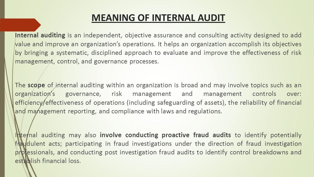 Internal audit a presentation by cma sushil yadav sr for Internal audit scope template