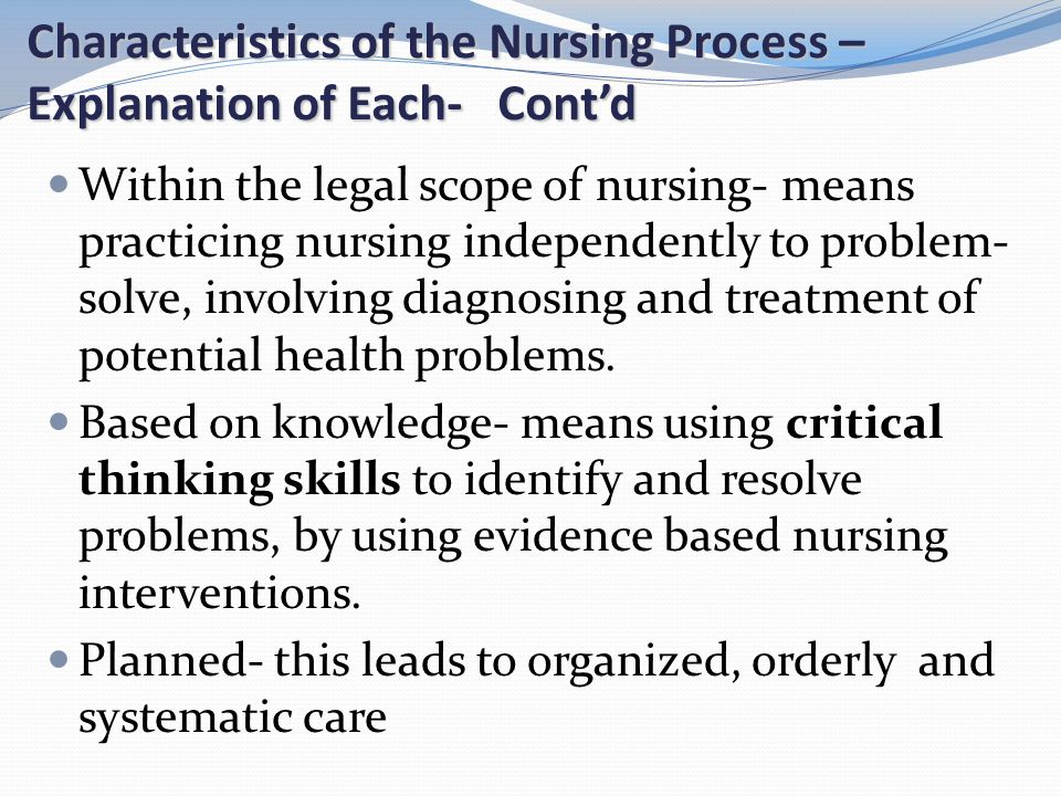 nursing critical thinking definition Strategies to foster critical thinking in nursing, critical thinking has been nursing students at the standard of general nurse based on the definition of.
