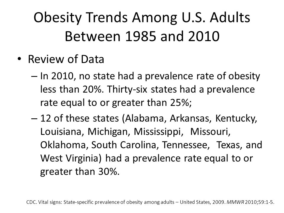 Obesity Trends Among U.S. Adults Between 1985 and 2010
