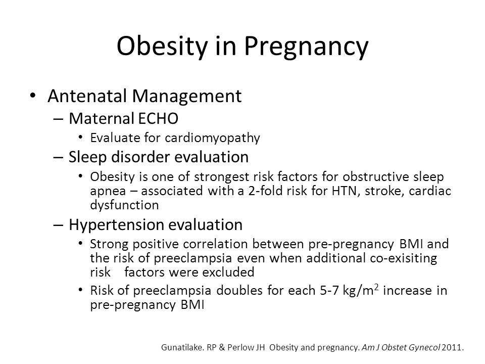 Obesity in Pregnancy Antenatal Management Maternal ECHO