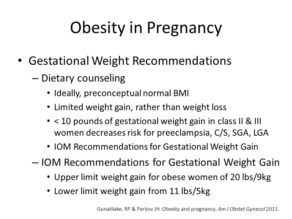 Obesity in Pregnancy Gestational Weight Recommendations
