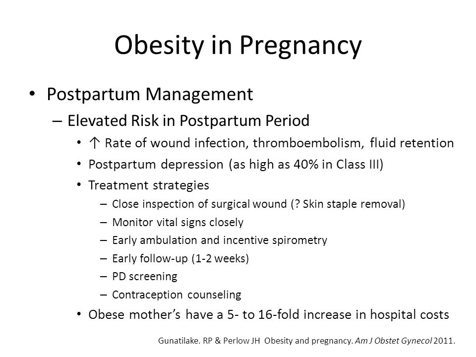Obesity in Pregnancy Postpartum Management