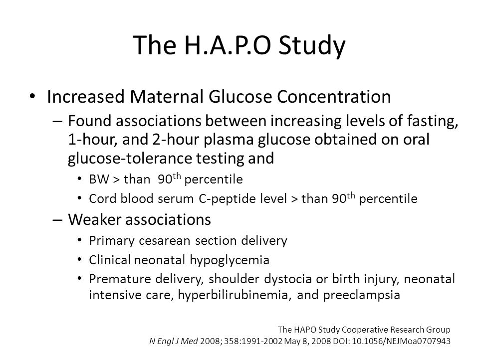 The H.A.P.O Study Increased Maternal Glucose Concentration