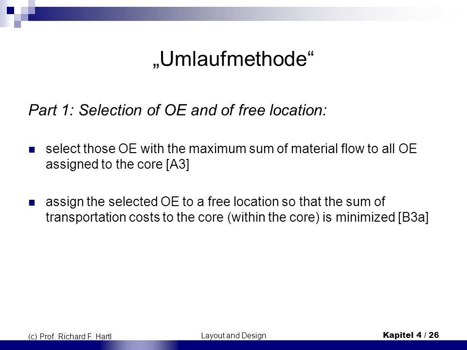 """Umlaufmethode Part 1: Selection of OE and of free location:"
