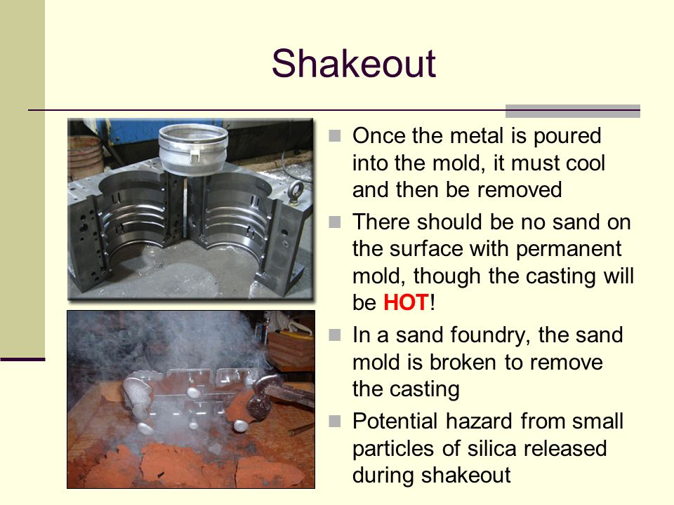 Shakeout Once the metal is poured into the mold, it must cool and then be removed.