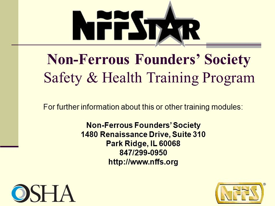 Non-Ferrous Founders' Society Safety & Health Training Program