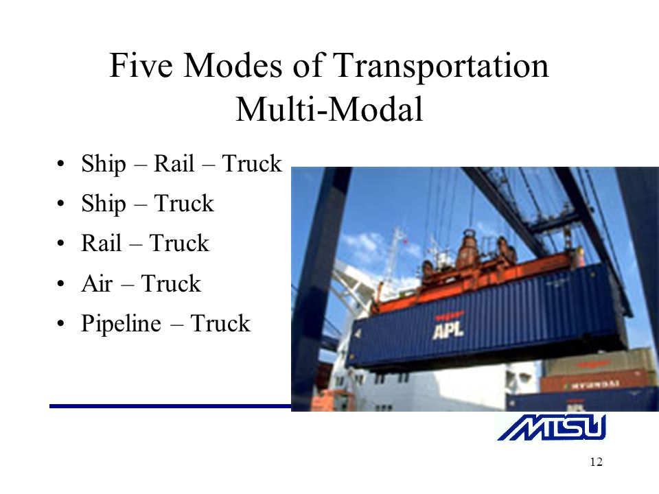 five modes of transportation Basic means of transportation there are five basic means of transporting products utilized by manufacturers and distributors: air, motor carrier, train industry observers note that port terminal accessibility to land-based modes of transportations is lacking in many regions.