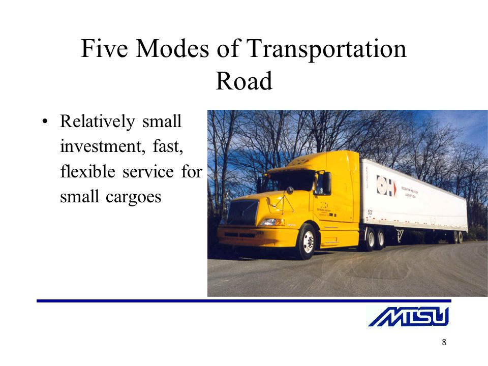 the five modes of transportation Transportation modes and economics transportation modes include: 1) rail historically, railroads have handled the largest number of ton-miles within the continental united states 2) motor highway transportation has expanded rapidly since the end of world war 11.
