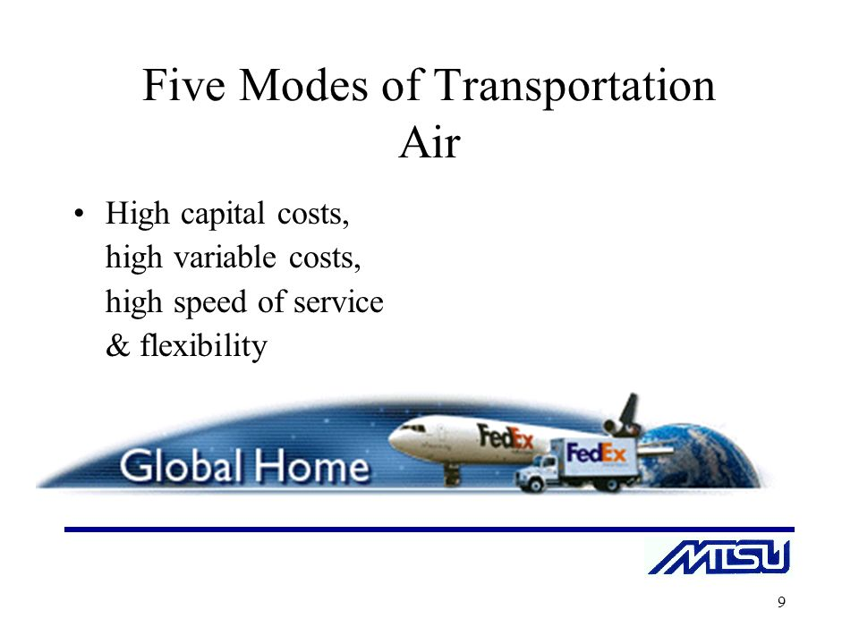 the five modes of transportation â ¢transport mode is used between end-stations or between an end-station and a gateway, if the gateway is being treated as a host-for example.
