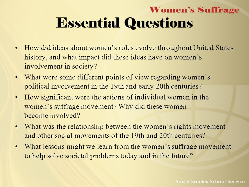 essays over the womans suffrage movement In recent decades, the woman suffrage movement has taken on new significance for women's history ellen carol dubois has been a central figure in spurring renewed interest in woman suffrage and in realigning the debates which surround it.