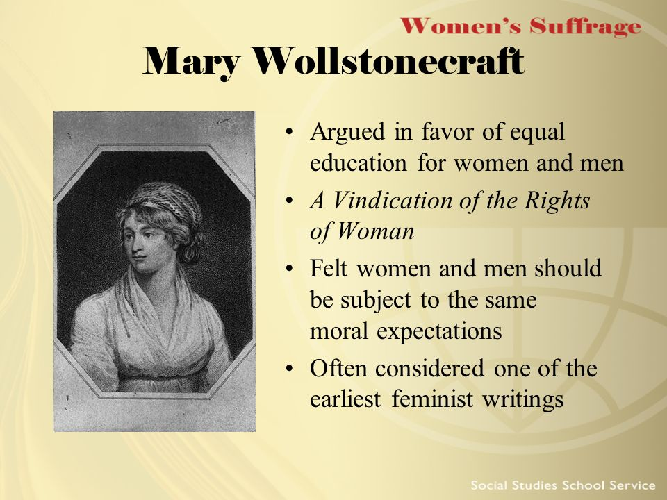 vindication rights women essay Rights she died shortly after giving birth to her daughter, mary wollstonecraft shelley a vindication of the rights of woman (1792) - her best-known work is an attack on the chauvinistic my opinion, indeed, respecting the rights and duties of woman flowery diction which has slided from essays into novels, and from.