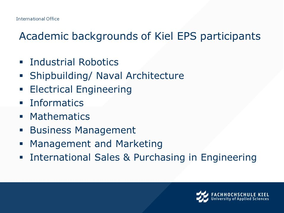 Academic backgrounds of Kiel EPS participants