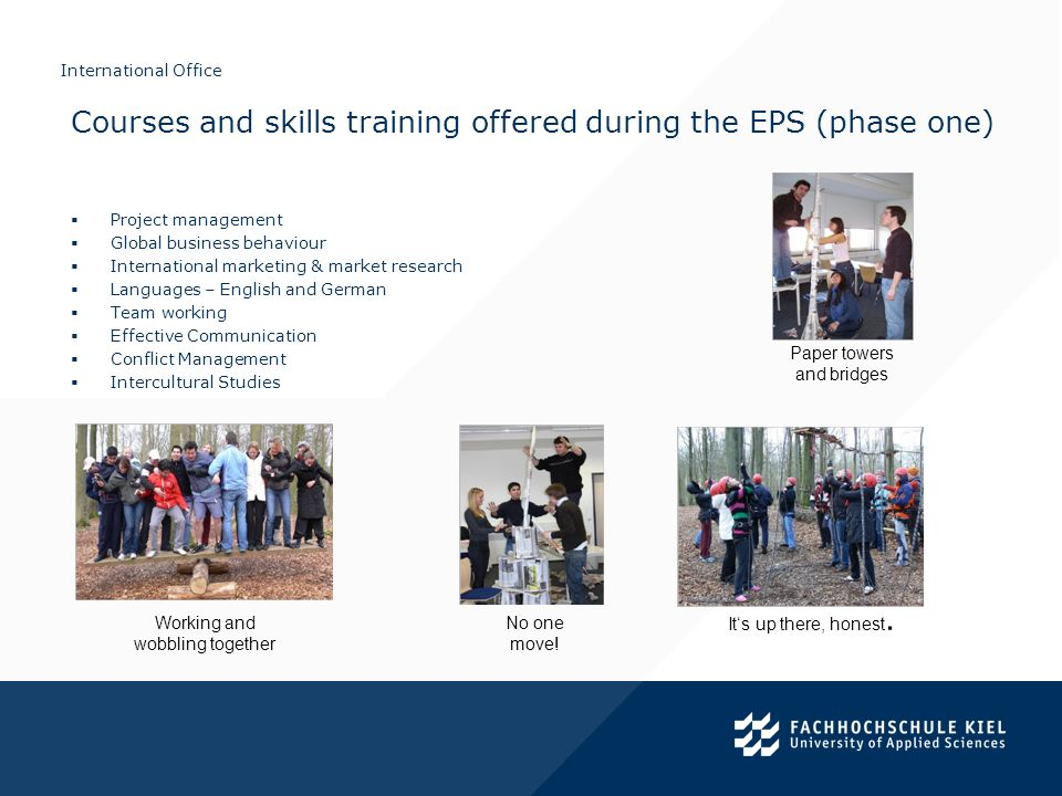 Courses and skills training offered during the EPS (phase one)