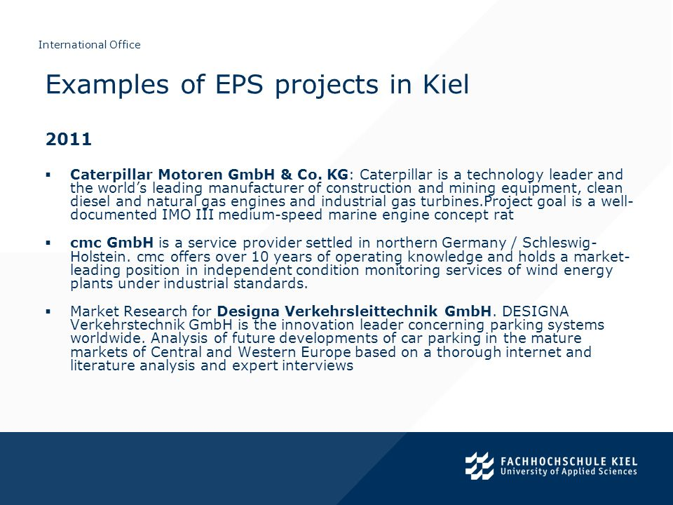 Examples of EPS projects in Kiel