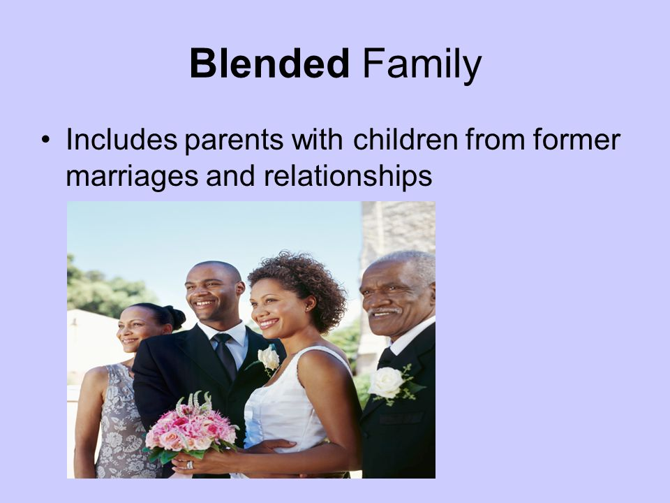 Blended Family Includes parents with children from former marriages and relationships
