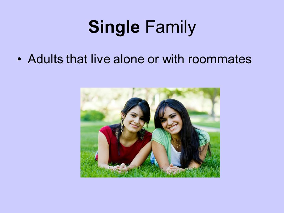 Single Family Adults that live alone or with roommates