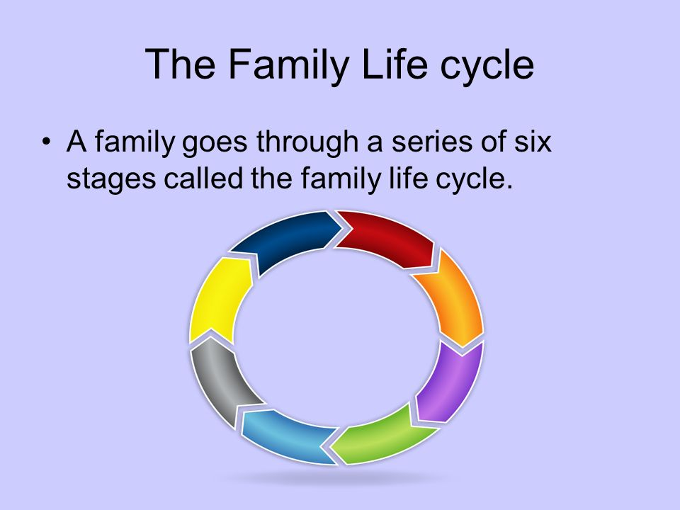 The Family Life cycle A family goes through a series of six stages called the family life cycle.