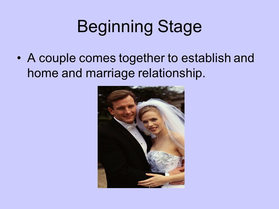 Beginning Stage A couple comes together to establish and home and marriage relationship.
