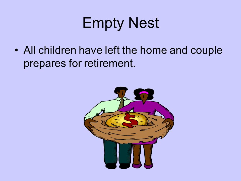 Empty Nest All children have left the home and couple prepares for retirement.