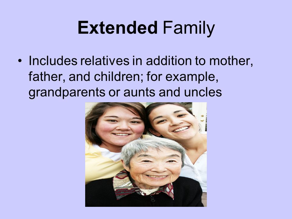 Extended Family Includes relatives in addition to mother, father, and children; for example, grandparents or aunts and uncles.